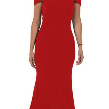 Red Off-the-Shoulder Mermaid Style Evening Gown