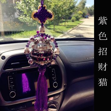 Chinese Ceramic Maneki Neko Car Hanging Pendant Plutus Cat Car Interior Ornament Car Accessories