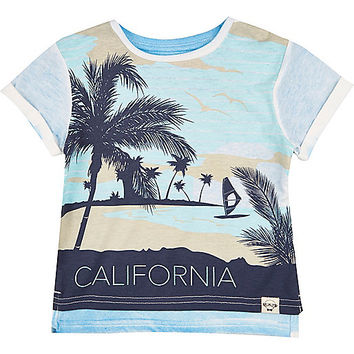 River Island Mini boys blue California print t-shirt