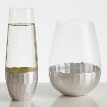 Silver Stemless Glassware Collection