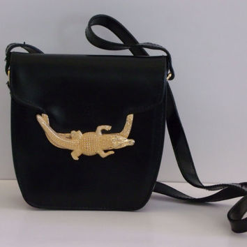 1980s gold Alligator clasp purse / Black and Gols Alligator purse