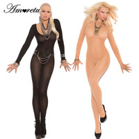 Long Sleeve Opaque Bodystocking Open Crotch Pantyhose Women Hot Sexy Lingerie Bodysuit Body Stocking