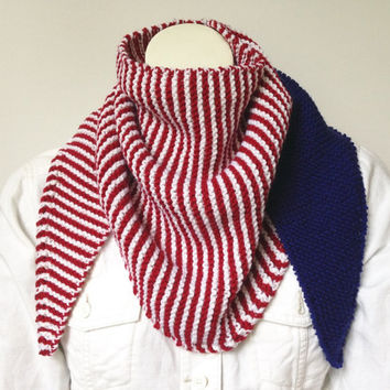 Red White and Blue Triangle Scarf, Merica Wrap, Hand Knit Shawl in Red and White Stripes with Royal Blue, USA Scarf