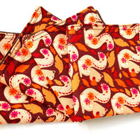 Harvest Squirrel Double Sided Cloth Napkins -Set of Four Fall Nature Brown Cloth Napkins