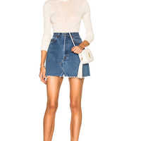 RE/DONE High Rise Mini Skirt in Blue | FWRD