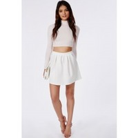 Missguided - Cornelia Scuba Pleated Skater Skirt White