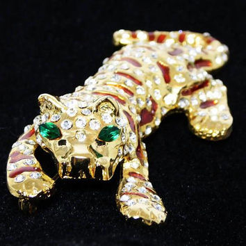 Vintage Rhinestone Tiger Pin Signed WEN, Green & Clear Rhinestones, Brown Enamel Stripes, Crouching Wild Cat Brooch, Vintage 1980s 1990s
