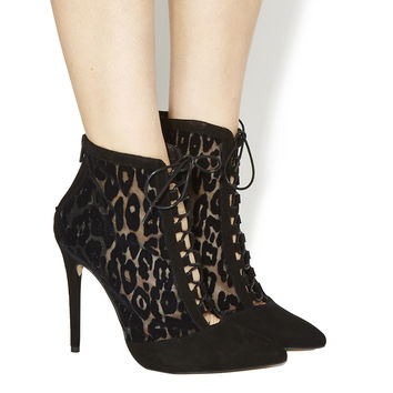 Office Intoxicate Lace Up Shoe Boots Black Suede Leopard Mesh - Ankle Boots
