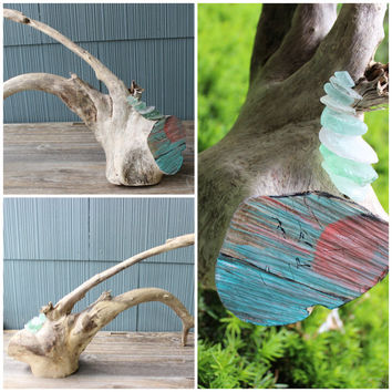 Driftwood & Seaglass Sculpture , Fine Art for Coastal Spaces, Sunset Painting