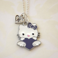 Hello Kitty Heart Necklace  Initial Heart  by koolstuff2 on Etsy