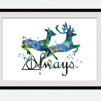 Always watercolor art print Harry Potter poster Always together art decor Home decoration Valentines day gift  Love wall decor art W19