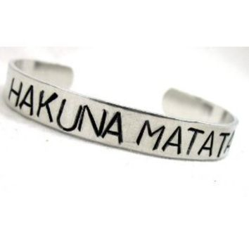 Hakuna Matata Hand Stamped SIB Bracelet - Aluminum, Adjustable; Handcrafted in USA by Foxwise Jewelry