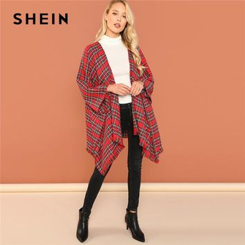 SHEIN Red Office Lady Highstreet Frayed Edge Plaid Print Asymmetric Length Cloak 2018 Autumn Casual Women Coat And Outerwear