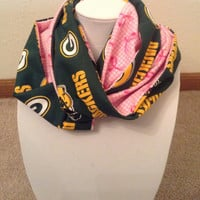 Green Bay Packers / Breast Cancer Awareness Scarf - Ready to Ship - NFL Infinity Cowl