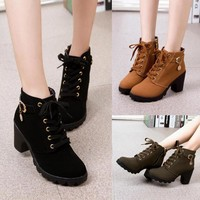 Boots: Women Motorcycle Nubuck Leather - Fashion Boot - High-Heeled