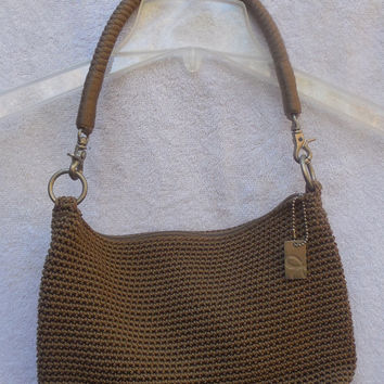 Vintage Handbag - Lina Crochet Brown Shoulder Hand Bag Beautiful Crochet Design Strap - Nylon Lining -