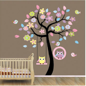 Pink tree swing owl children room of household adornment wall stickers in the wall stickers on the wall SM6