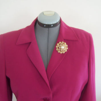 Vintage Pink Two Piece Jacket Skirt 10 Petite Fashion Wedding Bold Pink Polyester Dress Blazer Matching Skirt
