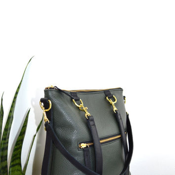 2-in-1 Leather Backpack Convertible Backpack Minimalist Small Hunter Green Leather Bag Shoulder Minimalist Bag Mabel Mini Pack