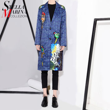 2016 Autumn Women Blue Satin Jacket Casual Coat Long Sleeve Animal Bird Appliques Pattern Print Female Basic Jacket Overcoat1662