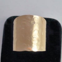 Hammered or Smooth Brass Wide Band Cigar Ring