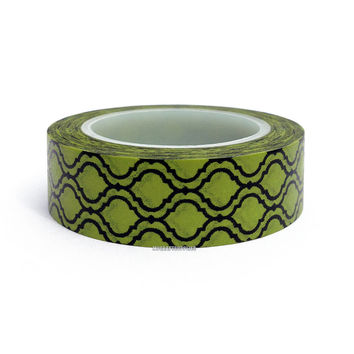 Green with Wavy Black Moroccan Window Paper Washi Tape, 15mm x 10 yards: Love My Tapes