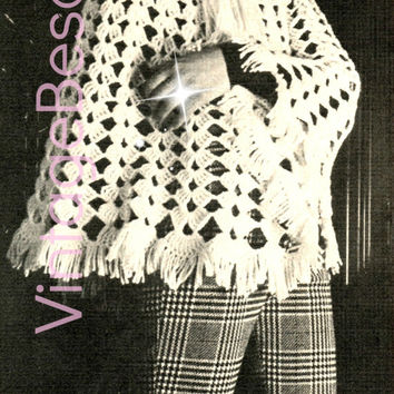 Ladies PONCHO CROCHET PATTERN Vintage 70s Shawl Pattern Sweater Boho Crochet Pattern Bohemian Clothing - Pdf Pattern - Instant Download