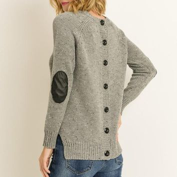 Button Down Back Sweater with Elbow Patch