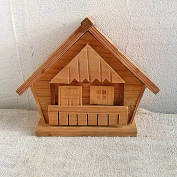 Vintage wooden house piggy bank adult Old cottage money box Primitive country avings box Retro money bank Folk woodworking Handmade carved