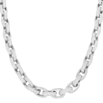 """Men's Custom Iced Out 18-24"""" Hermes Link Rolo Necklace"""