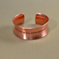 Anticlastic massive copper cuff bracelet I love you to the moon and back