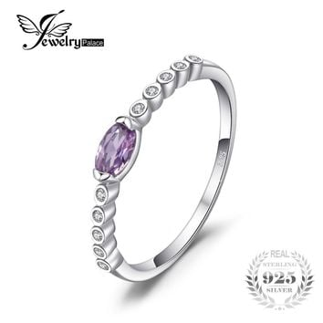 JewelryPalace Classic 0.34ct Created Alexandrite Sapphire Engagements Ring For Women Genuine 925 Sterling Silver Fine Jewelry