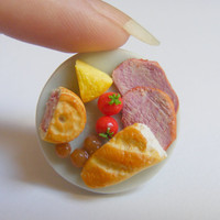 Food Jewelry Ploughman's Lunch  Miniature Food Ring - Miniature Food Jewelry,Mini Food Jewelry,Handmade Jewelry,Dolls House Food