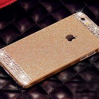 iPhone 6 Plus Case, UnnFiko Beauty Luxury Diamond Hybrid Glitter Bling Hard Shiny Sparkling with Crystal Rhinestone Cover Case for Apple iPhone 6 Plus (5.5) - Retail Packaging (Gold, iPhone 6 Plus)