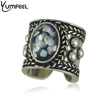 R1283 New Tibetan Silver Plated Punk Style Vintage & Boho Rings 4Color Choice Faux Stone Vintage Ring for Woman Jewelry