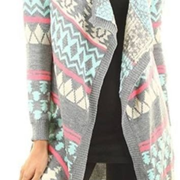 Grey Mint Pink Ivory Aztec Tribal Knit Long Sleeve Open Cardigan Sweater