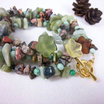 Mixed Gemstone Bracelet Quadruple Wrap Bracelet Jasper Bracelet Serpentine Bracelet Green Bracelet Boho Boehmian Gypsy Woodland Jewelry