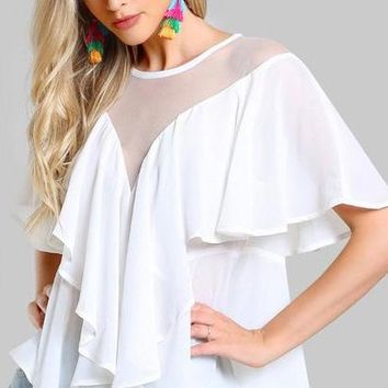 COLROVIE Mesh Cut White Blouse Flounce Ruffle Tops 2018 Women Sexy Patchwork Summer Tops Waterfall Elegant Sheer Tunic Blouse