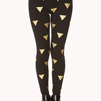 FOREVER 21 Luxe Geo Leggings Black/Gold X-Small