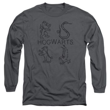 Harry Potter - Literary Crests Long Sleeve Adult 18/1 Officially Licensed Shirt