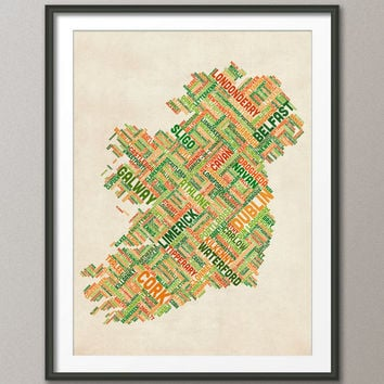 Ireland Eire City Text map, Art Print 18x24 inch (309)