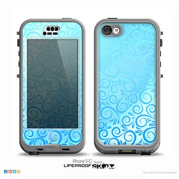 The Bright Blue Vector Spiral Pattern Skin for the iPhone 5c nüüd LifeProof Case