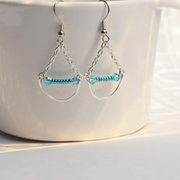 Glass bead Earrings, silver, Aqua Blue crystal, bright, wire wrapped, dangle and drop, gifts for her, summer, nickel free, hypoallergenic