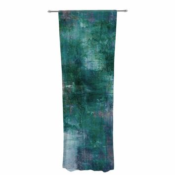 "Ebi Emporium ""Blue Planet"" Teal Blue Painting Decorative Sheer Curtain"