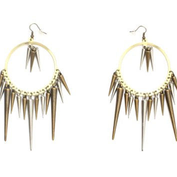 Spikes Hoop Earrings Dangling Chandelier EB34 Gold Silver Tone Punk Studs Statement Fashion Jewelry