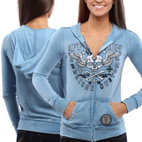 Affliction Creeps Juniors Long Sleeve Zip Up Hoodie - Light Blue