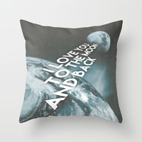 I love you to the moon and back Throw Pillow by Cafelab
