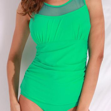 Lime Green Bathing Suits Mesh Solid Color Bodysuit One Pieces Swimwear