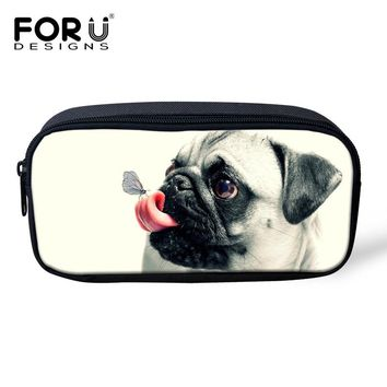 FORUDESIGNS Pouch Bag Pencil Case For Student Cute 3D Pug Dog Children Pen Box Pencil Holder School Supplies Women Makeup Cases