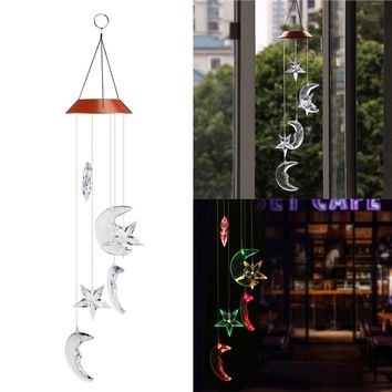 Star & Moon LED color-changing Wind Spinner Wind Chime Lamp for Outdoor Garden and Patio Decor